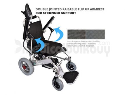 Quick Folding Light Weight Electric Wheelchair G10 Flip up Arm Rest